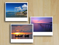Photo Frames On Wood Floor Stock Photo