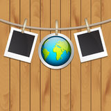 Photo frames. And planet on wood background. Earth day concept. EPS10 vector Royalty Free Stock Images