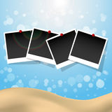 Photo frames with push pins summer Stock Photography