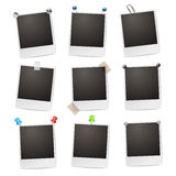 Photo frames. With pushpins,paperclips and tape Royalty Free Stock Photography