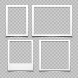 Photo frames with realistic drop shadow vector effect isolated. Image borders with 3d shadows. Empty photo frame template gallery illustration stock illustration