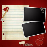 Photo frames on red background. Photo frames with pencil, eraser, clip, notepad, heart Royalty Free Stock Photos