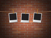 Photo Frames Represents Blank Space And Bricks Stock Photo