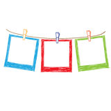 Photo frames on rope Royalty Free Stock Photography
