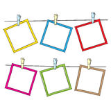 Photo frames on rope. Doodle sketch, vector Stock Photography