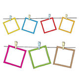 Photo frames on rope Royalty Free Stock Photos