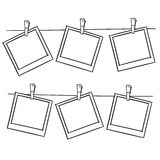 Photo frames on rope Stock Images