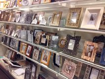 Photo frames for sale in a store. Stock Photo