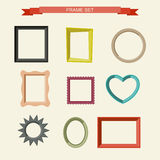 Photo frames. Set of different frames in flat style. Vector illustration Stock Photography