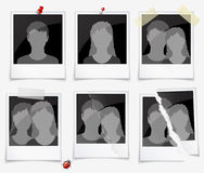 Photo frames. Set of photo frames with silhouettes of men and women Stock Images