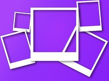 Photo frames with space for text and soft shadow. Isolated on trendy color background. Polaroid style imitation stock illustration