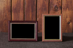 Photo frames on table royalty free stock image