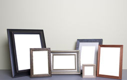Photo frames on the table royalty free stock image