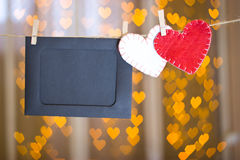 Photo frames and two hearts made of felt. Royalty Free Stock Images