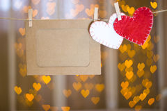 Photo frames and two hearts made of felt. Royalty Free Stock Photography