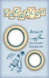 Photo frames and vacation illustrations Royalty Free Stock Image