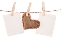 Photo frames and valentines day toy heart Royalty Free Stock Images