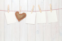 Photo frames and valentines toy heart Stock Photo