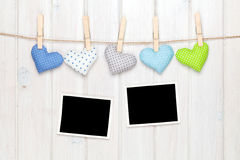 Photo frames and valentines toy hearts Stock Images