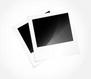 Photo frames in vector art. Two vector glossy Polaroid photos Stock Photo