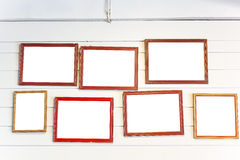 Photo frames on the vintage wall Royalty Free Stock Photos