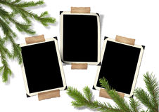 Photo-framework retro and Christmas tree Royalty Free Stock Photo