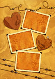Photo frameworks, hearts, beads. Stock Images