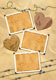 Photo frameworks, hearts, beads. Royalty Free Stock Image