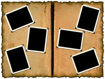 Photo frameworks on old album Royalty Free Stock Images