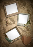 Photo frameworks. Retro. Photo frameworks in a retro style. Old paper, heart, her barium royalty free stock photos