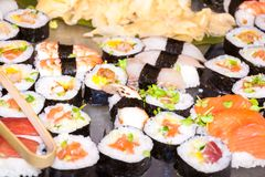 Photo of fresh sushi platter with a lot of variety Stock Photography
