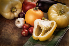 Photo of fresh vegetables on wooden table Royalty Free Stock Photography