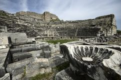 Ruins of Miletus ancient city theaterRuins of Miletus ancient city theater. The photo is the frontal view of Miletus ancient city thater. Miletus is an Greek royalty free stock photos