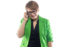 Photo of frowned woman speaking by phone Royalty Free Stock Image