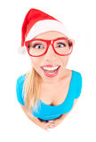 Photo of a funny Santa girl Royalty Free Stock Photos