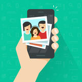Photo gallery on mobile phone flat cartoon, photo album on smartphone vector illustration, photography of family on Royalty Free Stock Images