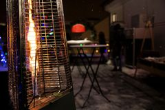 Gas heater for patio. Photo of Gas heater for patio stock photo