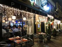 Georgetown Pizzeria at Night During Christmas Royalty Free Stock Images