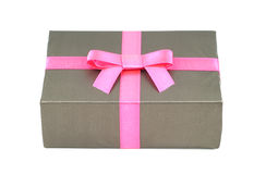 Photo of gift box crossing of pink line Royalty Free Stock Images