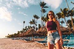 Girl at Bavaro Beaches in Punta Cana, Dominican Republic. Photo of Girl at Bavaro Beaches in Punta Cana, Dominican Republic royalty free stock photo