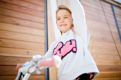 Photo of girl on cycle Stock Photo