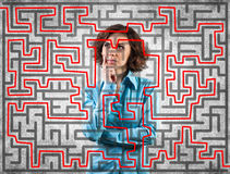 Girl before a labyrinth Stock Photos