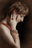 Photo - girl with pearls Stock Image