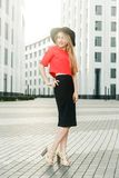 Photo of girl in red jacket and black hat Royalty Free Stock Photo