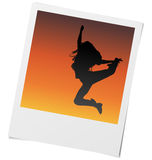 Photo with girl on sunset. Royalty Free Stock Photos