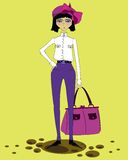 Girl. Photo of the girl in the trendy suitable for the design of cards vector illustration