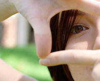 Photo of a girls eye at the park Royalty Free Stock Image
