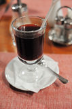 Photo of a glass with a mulled wine. Close-up image of glass with a mulled wine Royalty Free Stock Photo