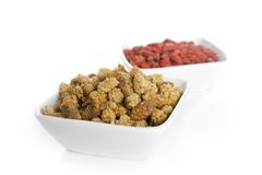 Mulberries and Goji berries in Bowls Stock Photos