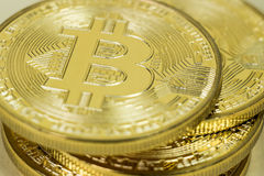 Photo Of Golden Bitcoin virtual currency coin. Royalty Free Stock Photography